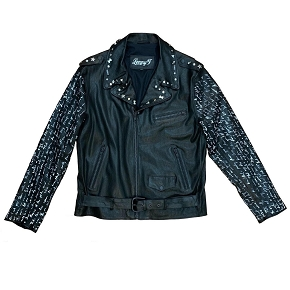 Lenny Turk White Poe Script Stretch Leather Biker Jacket
