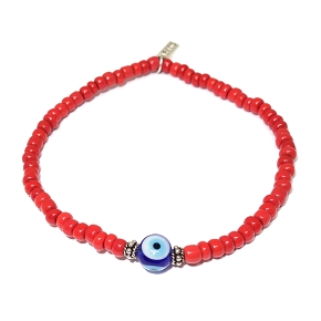 Limited Edition Coral Trading Beads & Evil Eye Bracelet