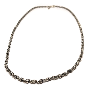 Men's Linked Silver Skull Necklace