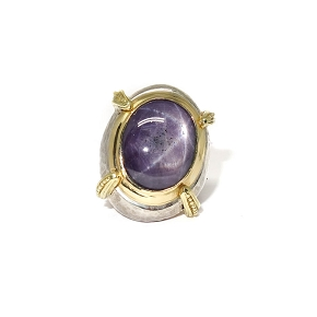 Rough Star Ruby Gold & Silver Ring