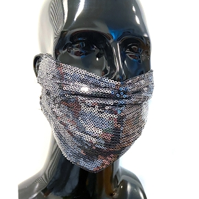 Gun Metal Sequin Face Mask