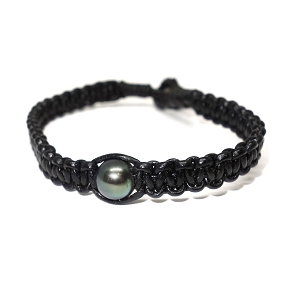 South Sea Pearl Woven Leather Bracelet