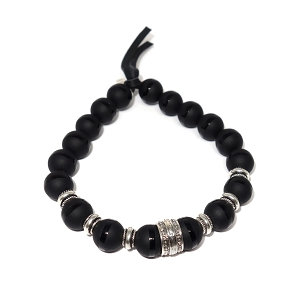 Limited Edition Striped Black Agate & Sterling Silver Bracelet