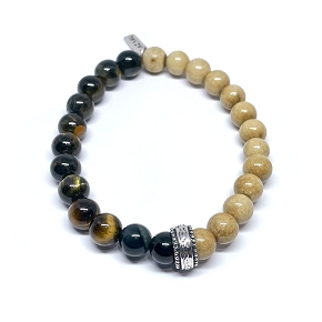 Tiger Eye & Bone Bracelet