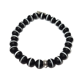 White Striped Black Agate Bracelet