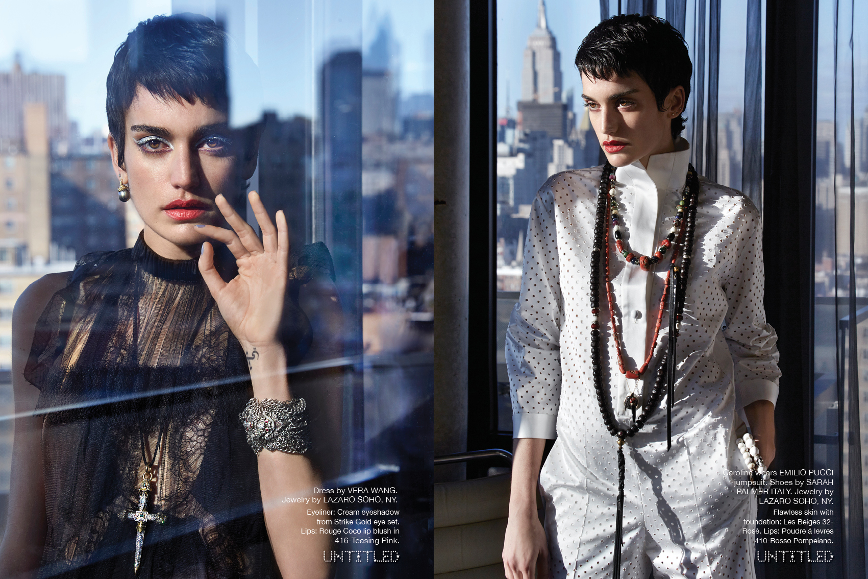 Model Caroline Wears Lazaro Necklaces