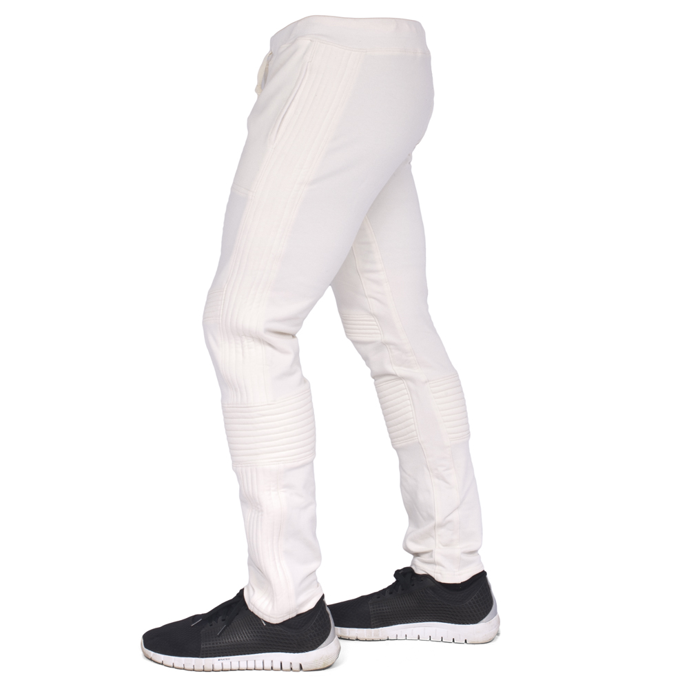 Ribbed Moto Style Ivory Men's Pants
