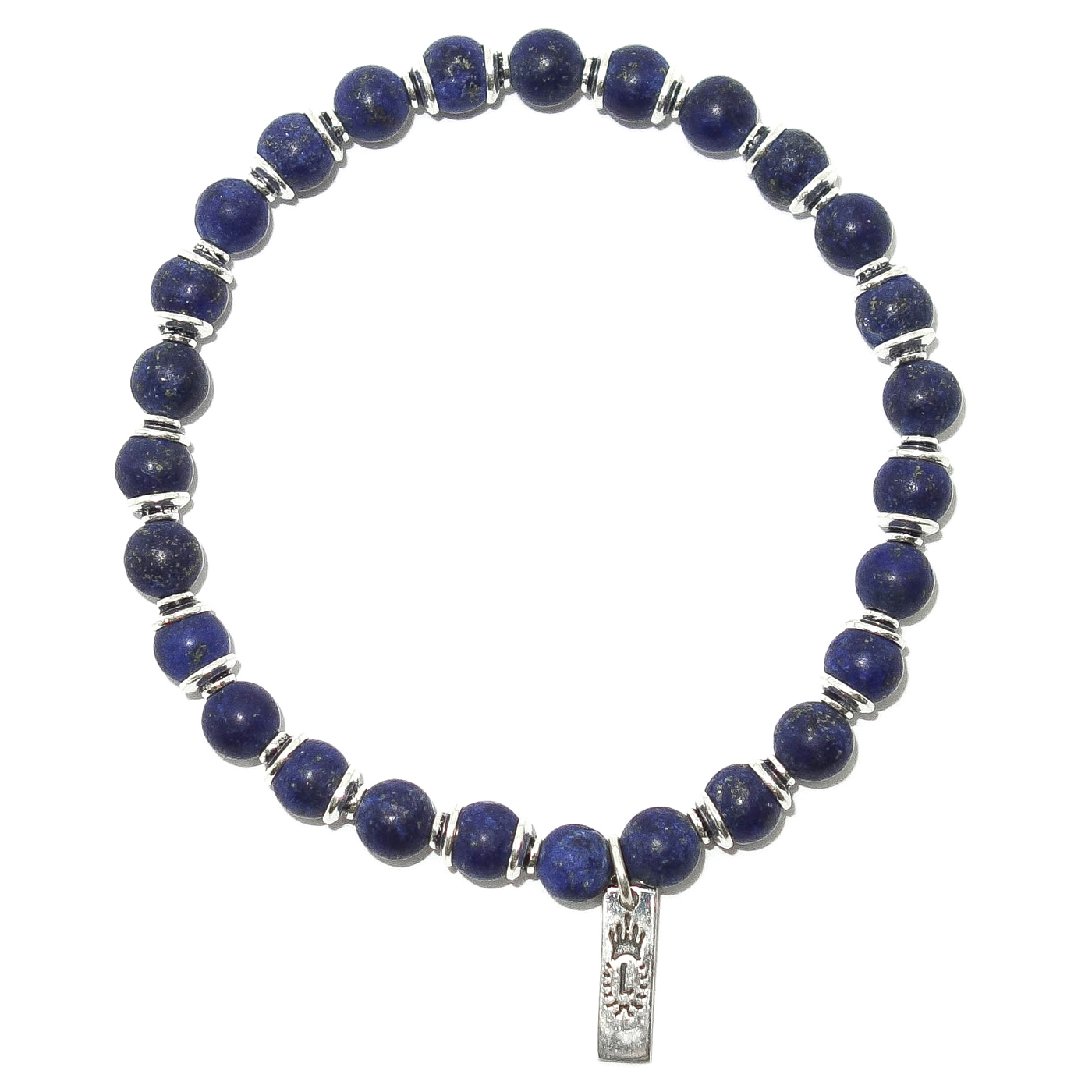 Beaded Matte Lapis Silver Men S Bracelet