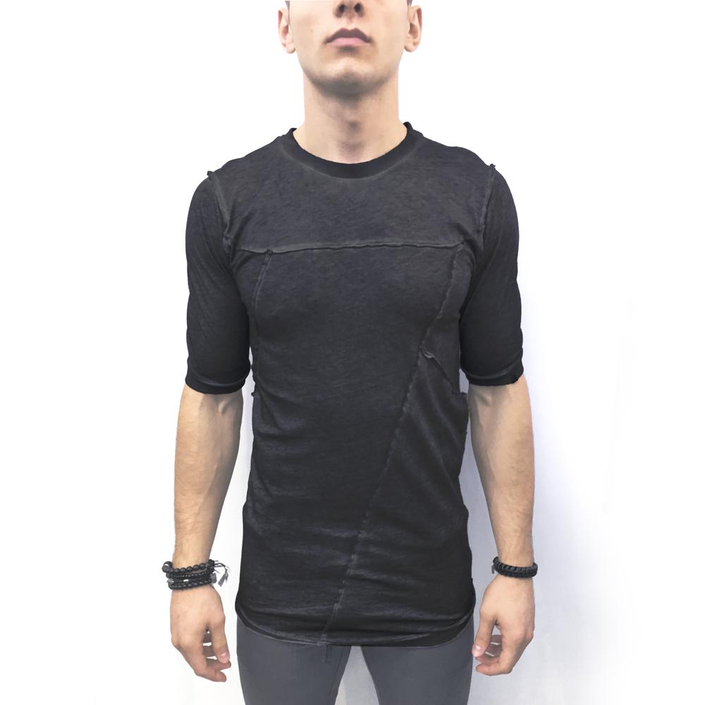 Black Hand Dyed Elongated Cotton Men s T-shirt - Men s Shirts ... 9d5d7747d