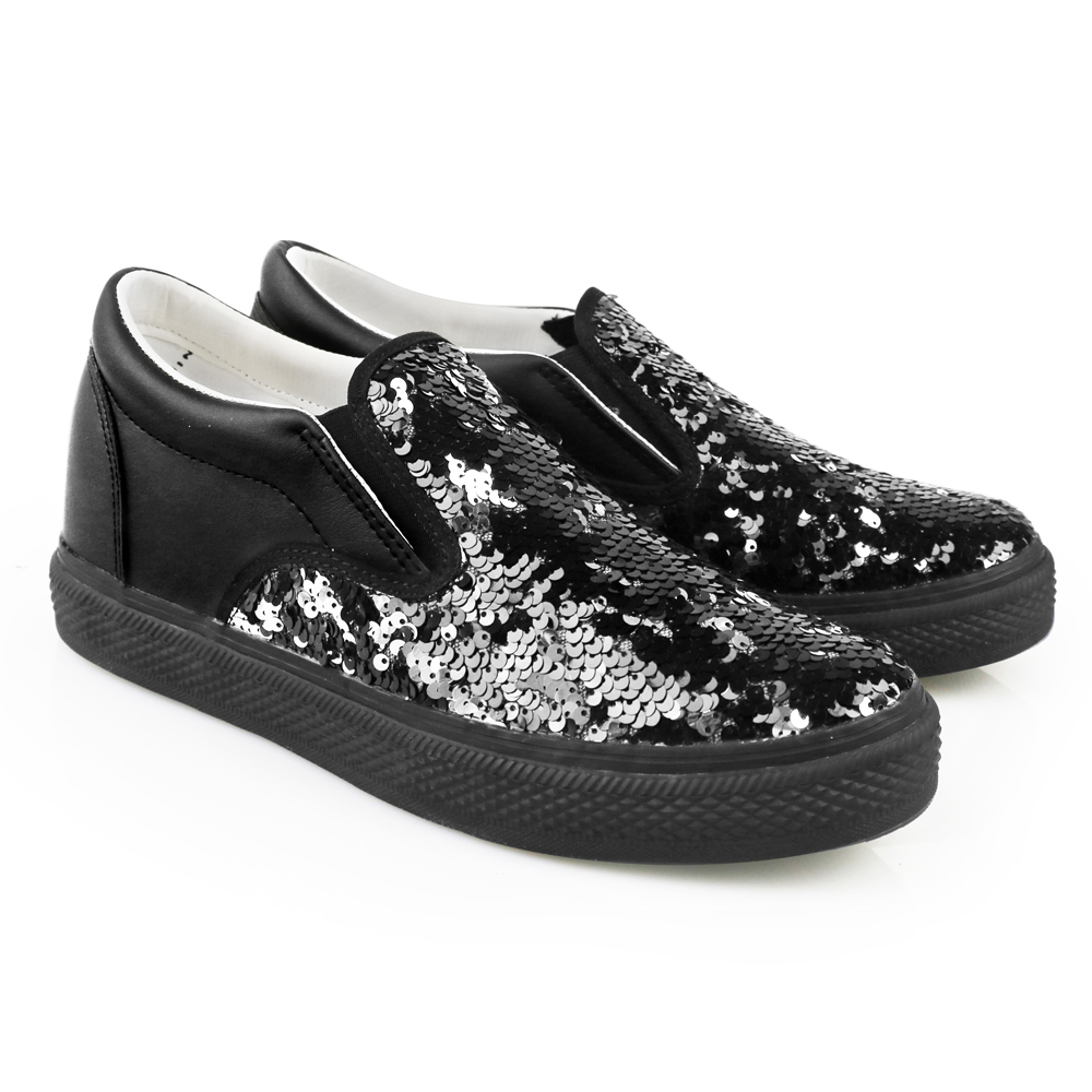 Black Sequined Men's Slip-On iiJin Tennis Shoes