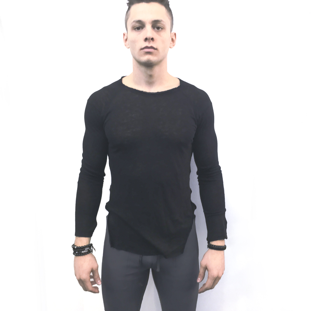 Black Woven Linen Long Sleeve Men's Shirt