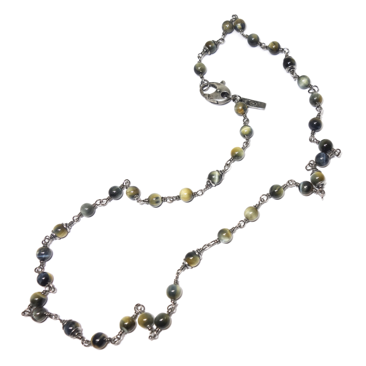 Blue Tiger's Eye and Silver Men's Necklace