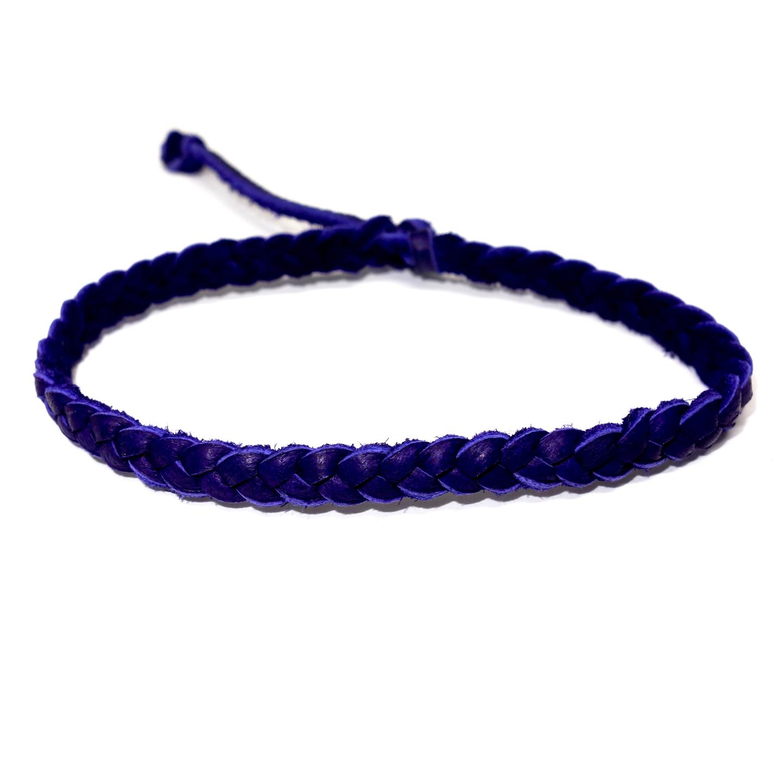 Deep Purple Deerskin Braided Bracelet