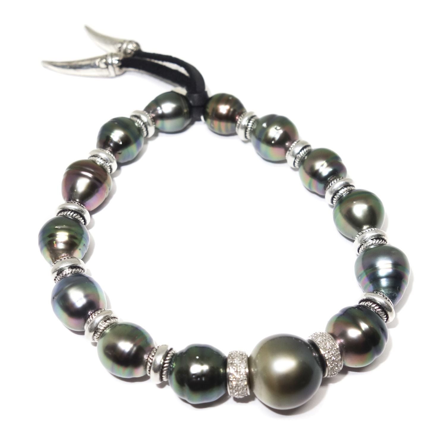 Diamond and South Sea Pearl Men's Bracelet