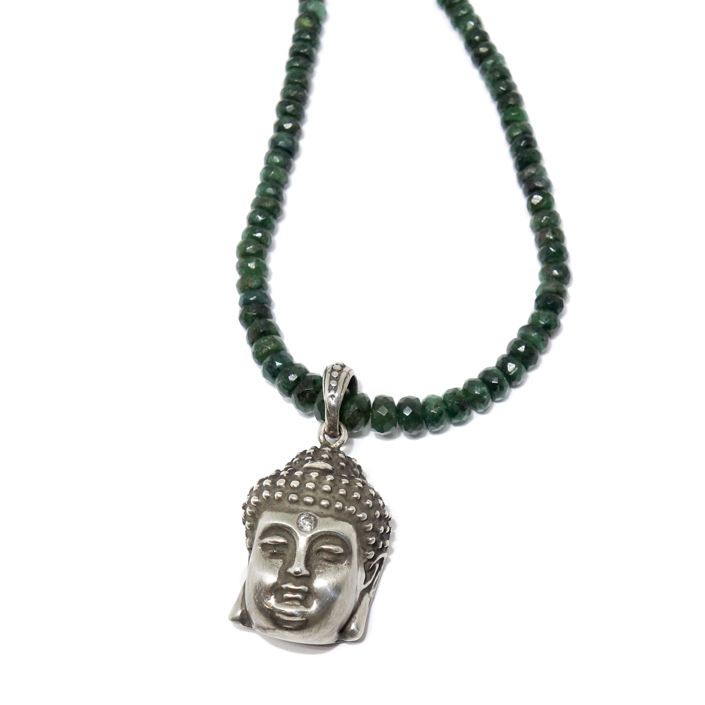 Diamond silver buddha pendant on emerald beaded chain top aloadofball Images