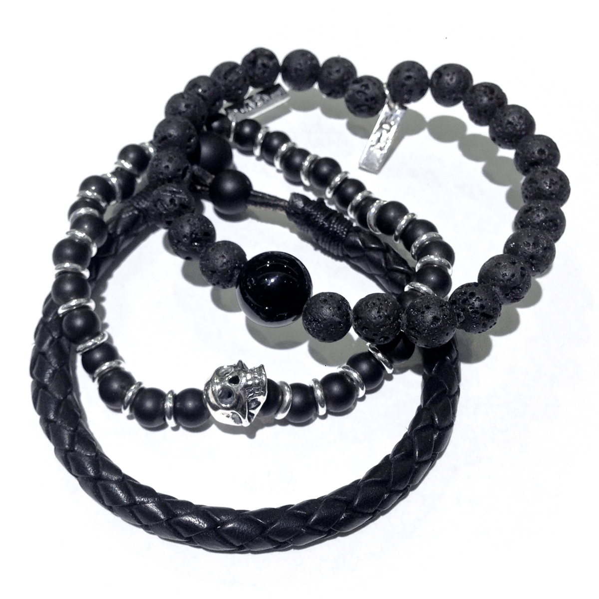 Lava Leather Onyx Mens Stacked Bracelets