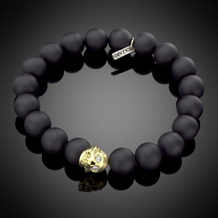 Black Onyx Skull Bracelet with 18K Gold Skull White Diamonds