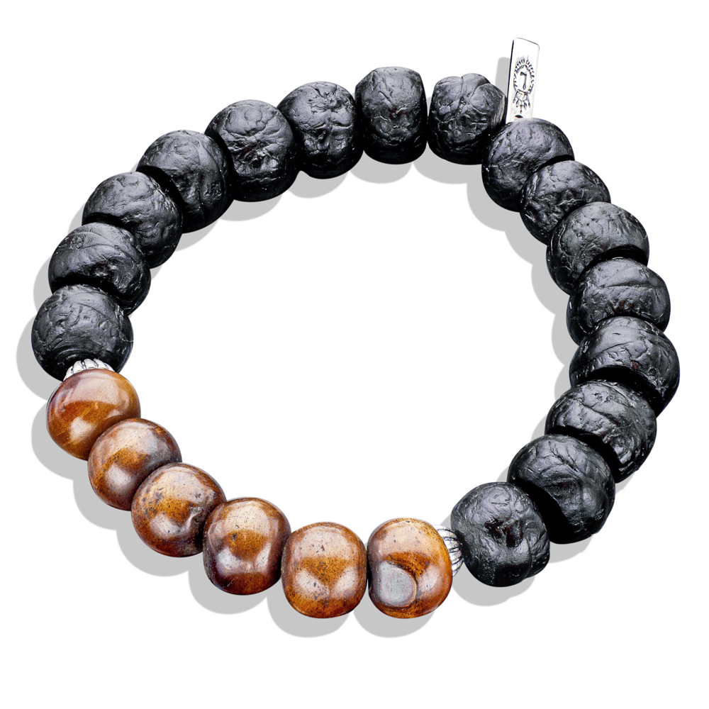 Carved Horn Tibetan Meditation Bead With Silver Caps Wood Bracelet Men S Bracelets Lazaro Soho