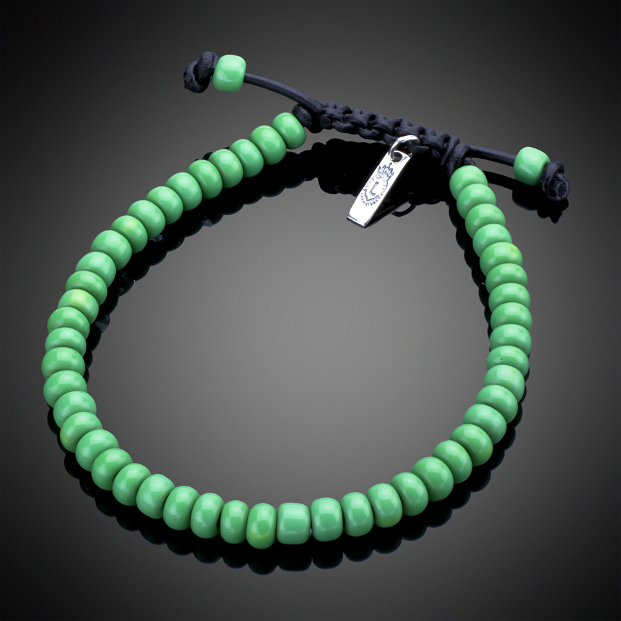 Green African Glass With Black Leather Sterling Silver Bracelet