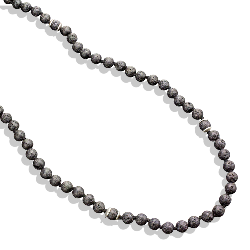8dc44b475f5db 4mm Lava Bead & Sterling Silver Necklace