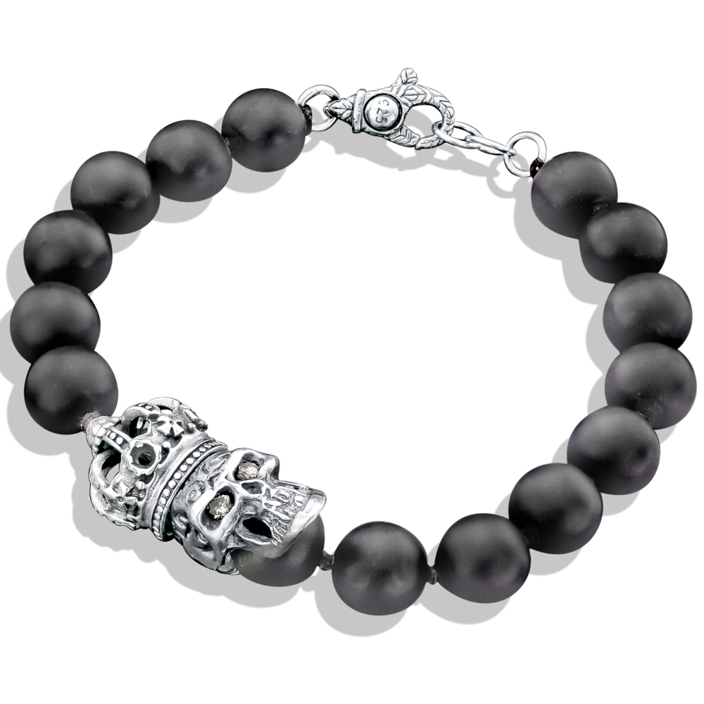 Black Onyx Bead Silver Crown Skull Bracelet