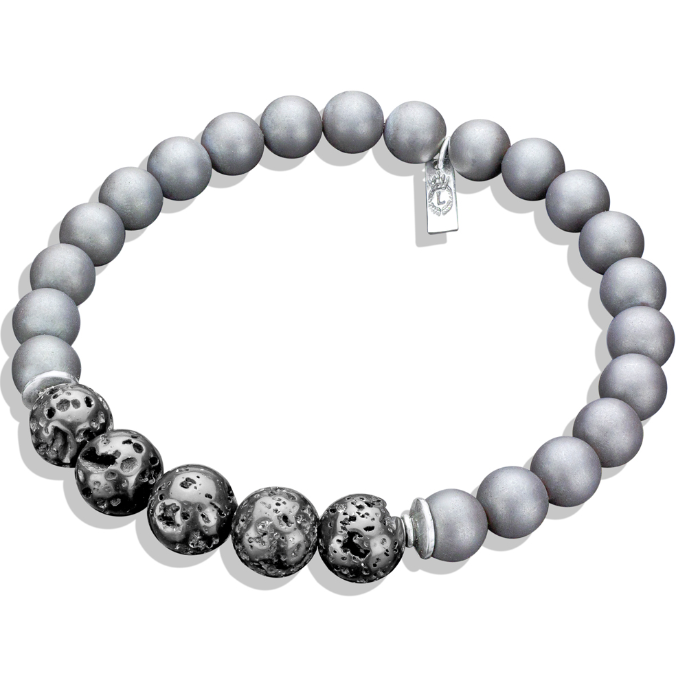 Limited Edition Silver Hematite Lava Bead Bracelet Men S