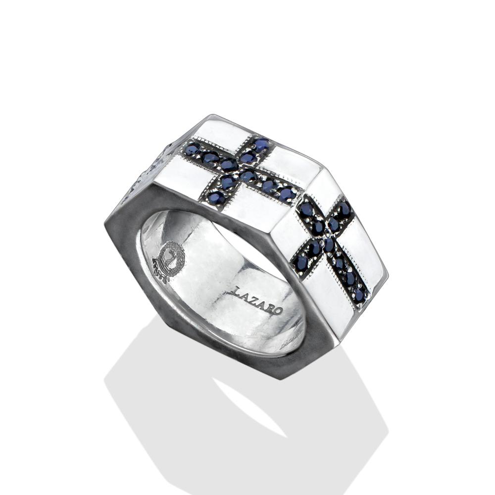 black sapphire cross bolt ring