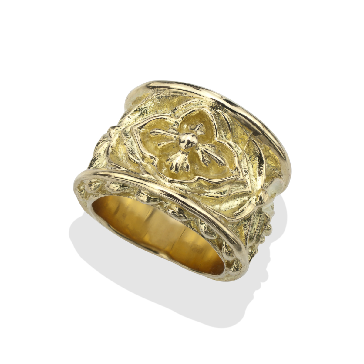 18Kt Gold Mens Gothic Biker Ring