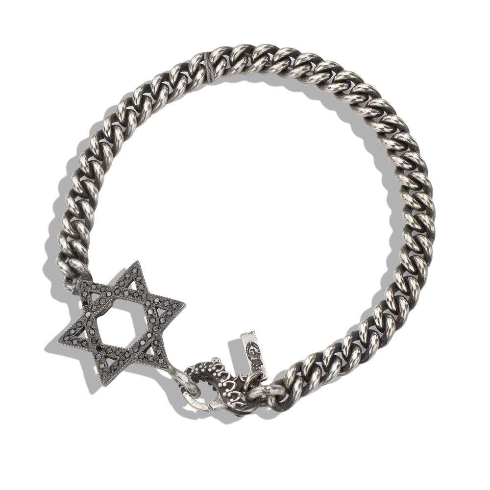 Black diamond silver star of david mens bracelet aloadofball Choice Image