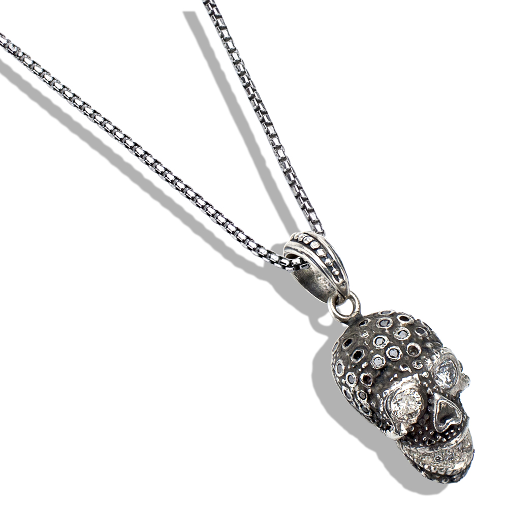 cubic skull pendant necklace zirconia silver sterling