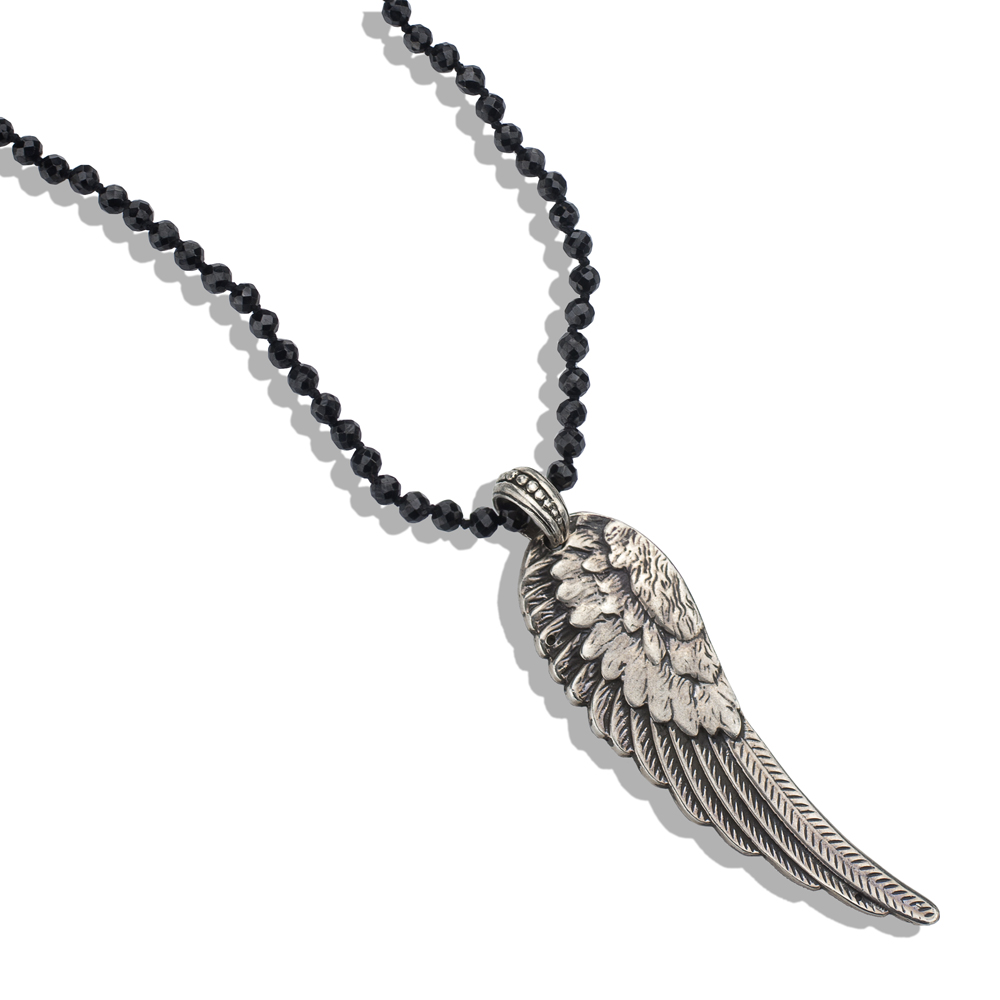 Onyx bead mens necklace with silver wing pendant mozeypictures Gallery