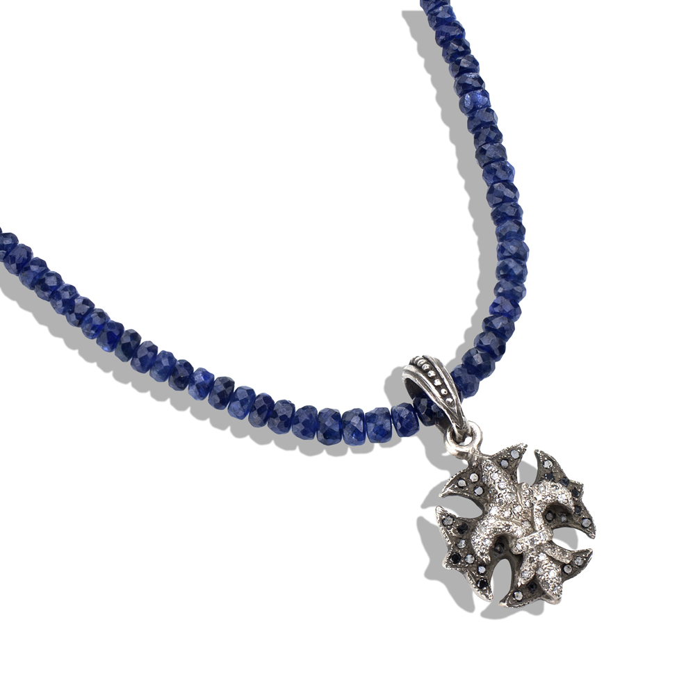 Sapphire Necklace with Diamond Fleur De Lis & Maltese Iron Cross Pendant