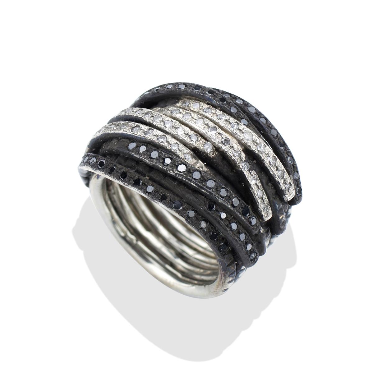 Silver Black White Mens Diamond Coil Ring