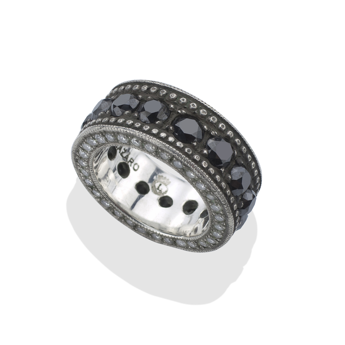 neal bands eternity band bario narrow plat black diamond