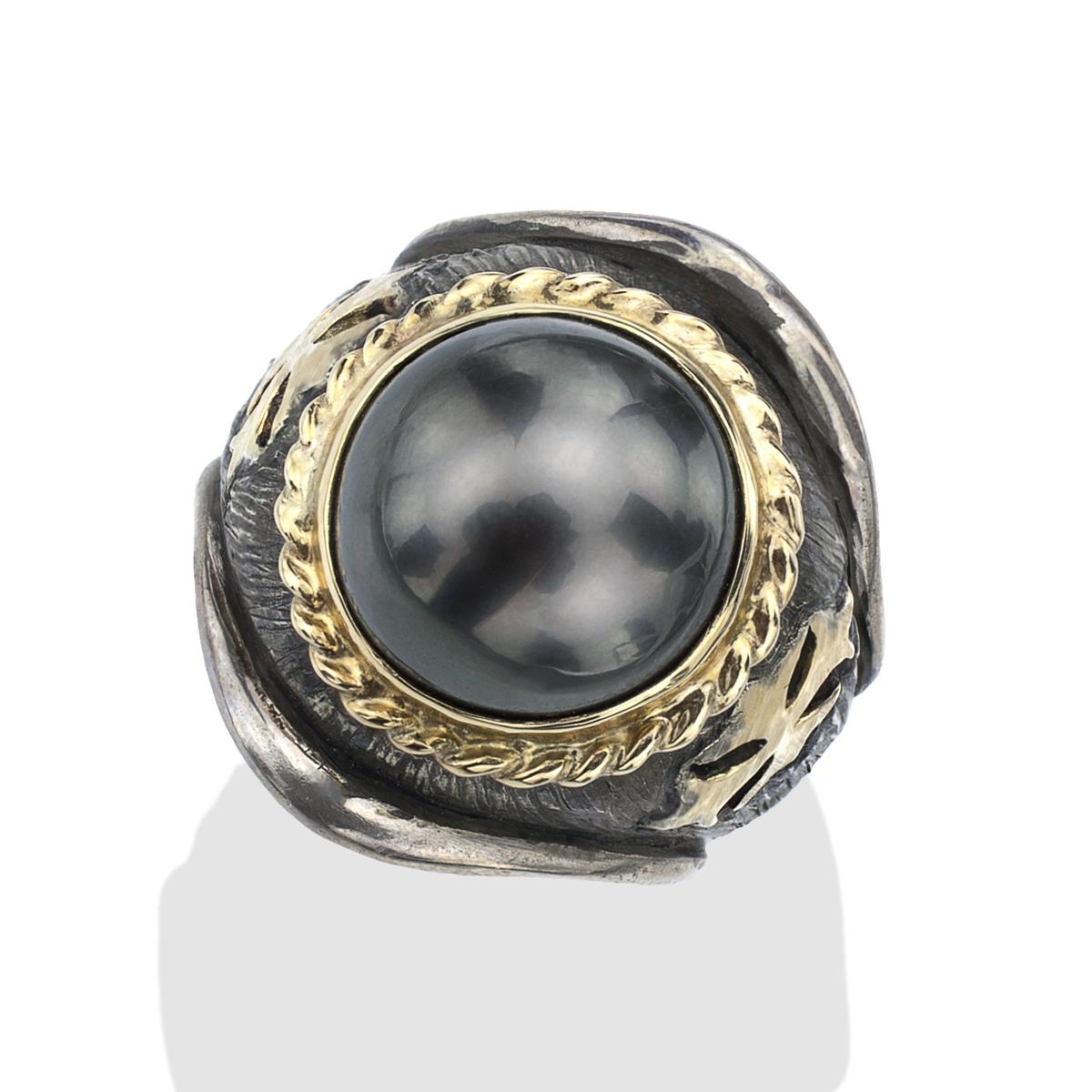 Sea Pearl Men\'s Maltese Iron Cross Ring