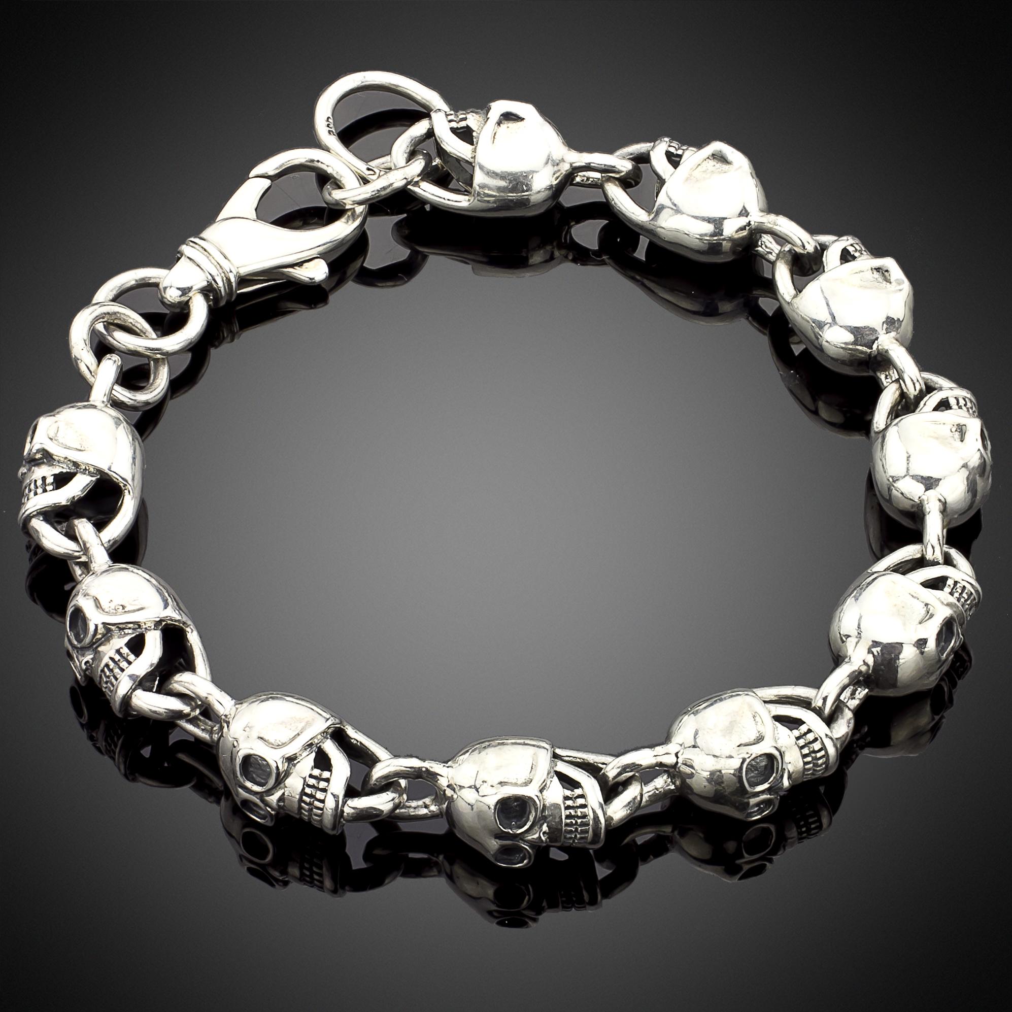 Chain Link Silver Skull Bracelet