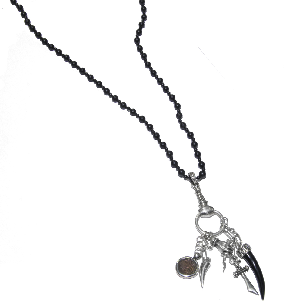 onyx jewelry bnk arrow black drop gabriella beaded skull necklace silver winged cross chains soc