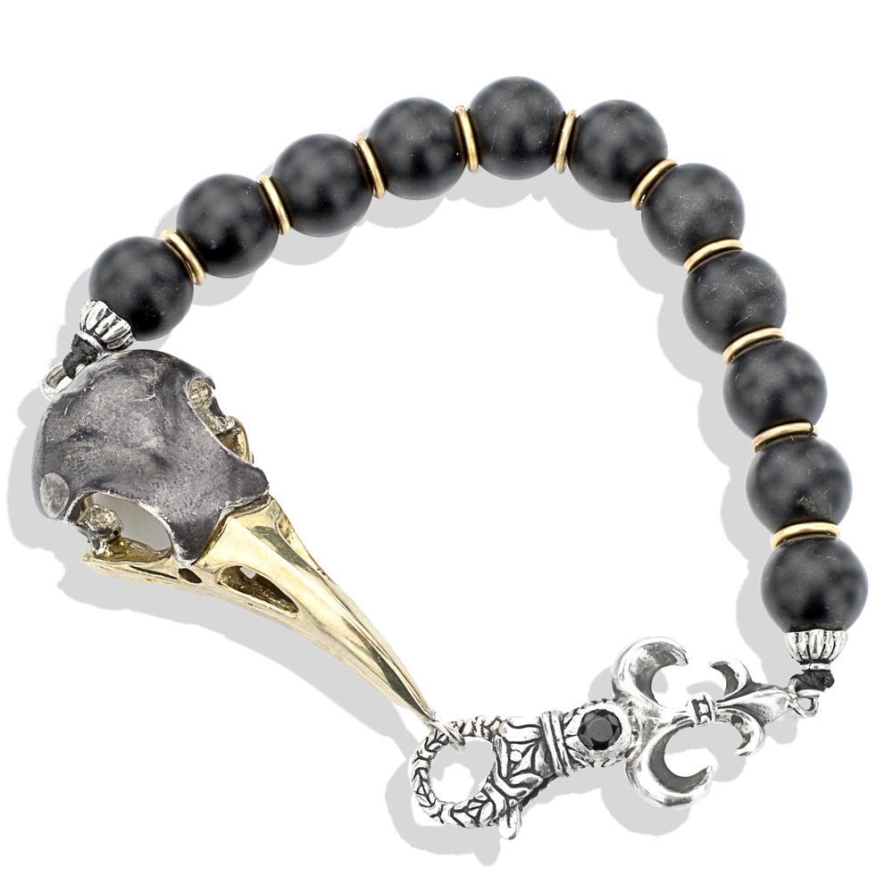 Silver Bronze Large Raven Skull Onyx Bead Bracelet Men S Bracelets Lazaro Soho