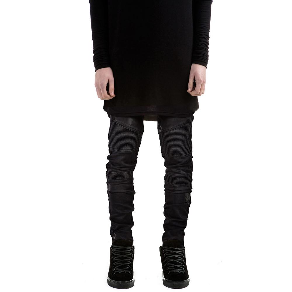 Represent Black Stone Washed Distressed Biker Denim Jeans