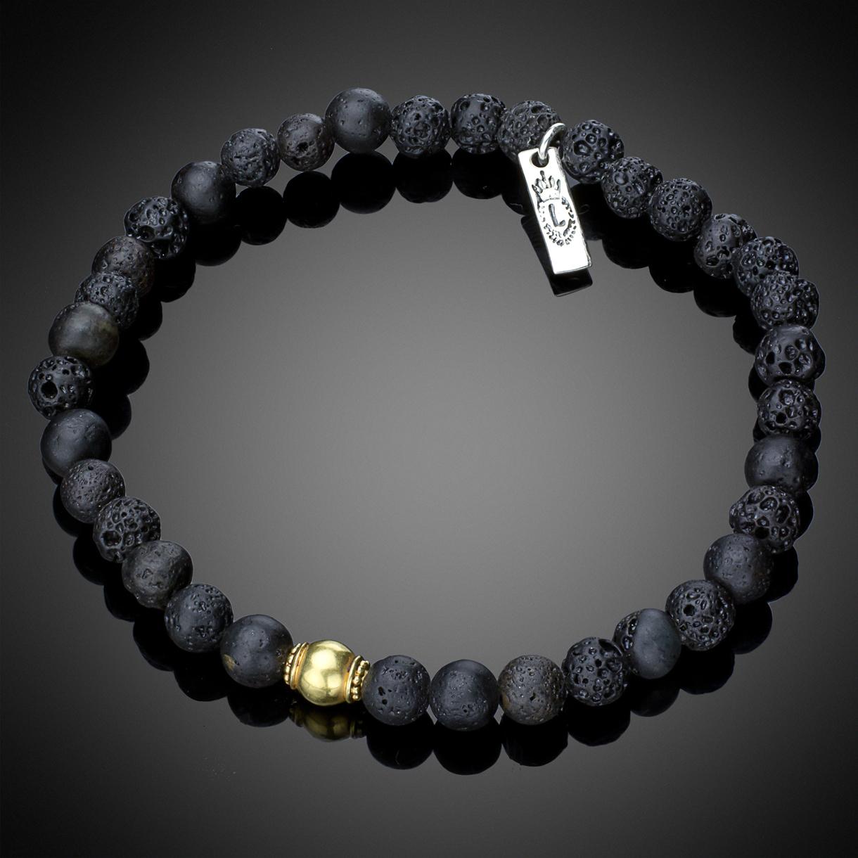18K Gold Lava Bead Bracelet
