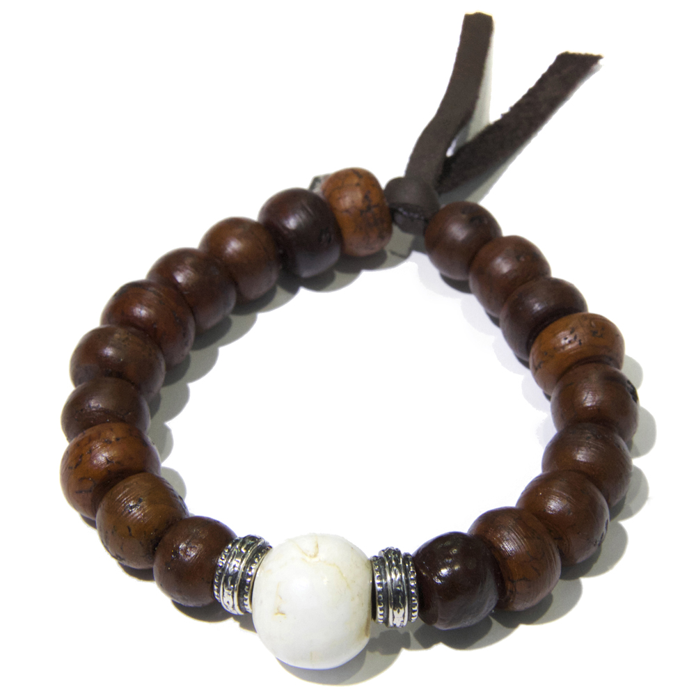 Silver Conch Wooden Tibetan Prayer Bead Men S Bracelet Bracelets Lazaro Soho