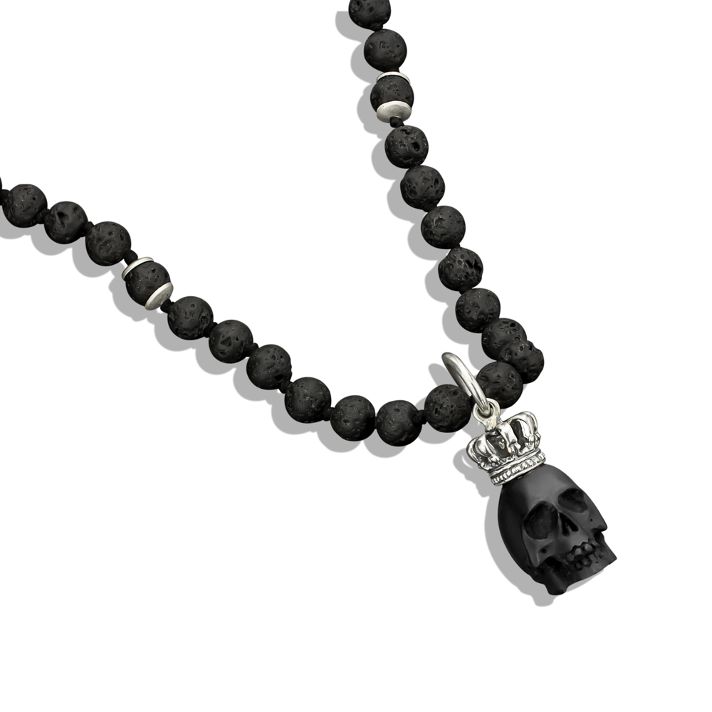 Jet king skull pendant with silver crown lava bead necklace aloadofball Image collections