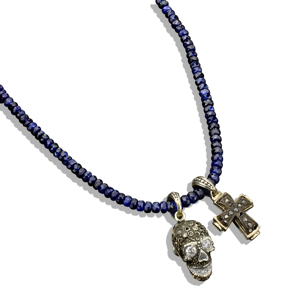 Pave Diamond Skull & Cross Faceted Sapphire Bead Necklace