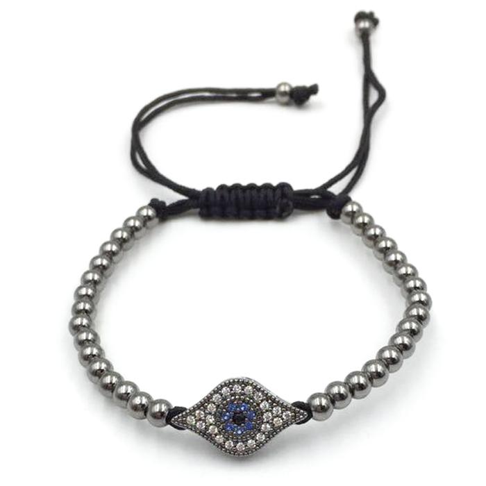 Limited Edition Evil Eye Black Rhodium Beaded Men's Bracelet
