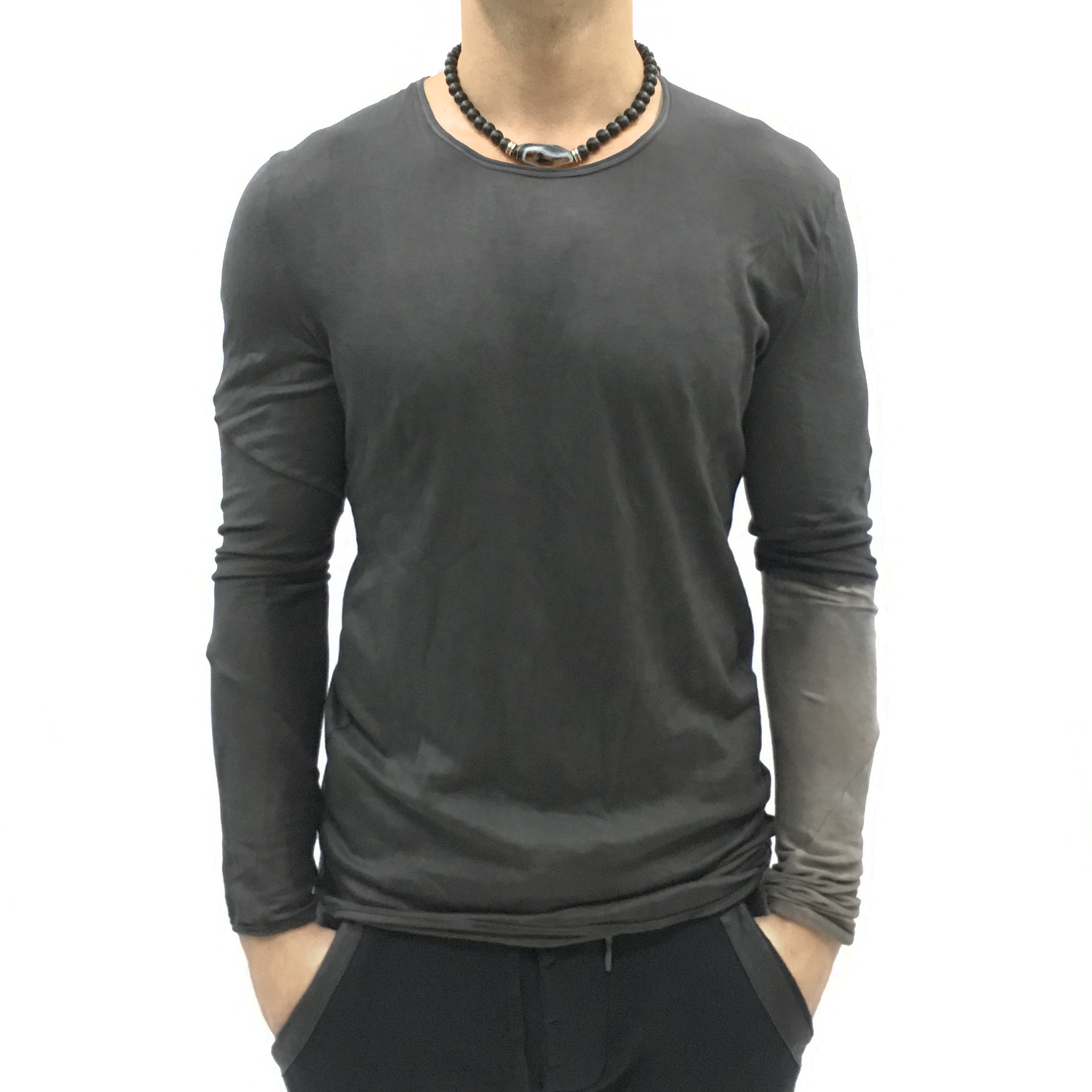 No, No, Yes! Black Hand Dyed Men's Long-Sleeve Shirt