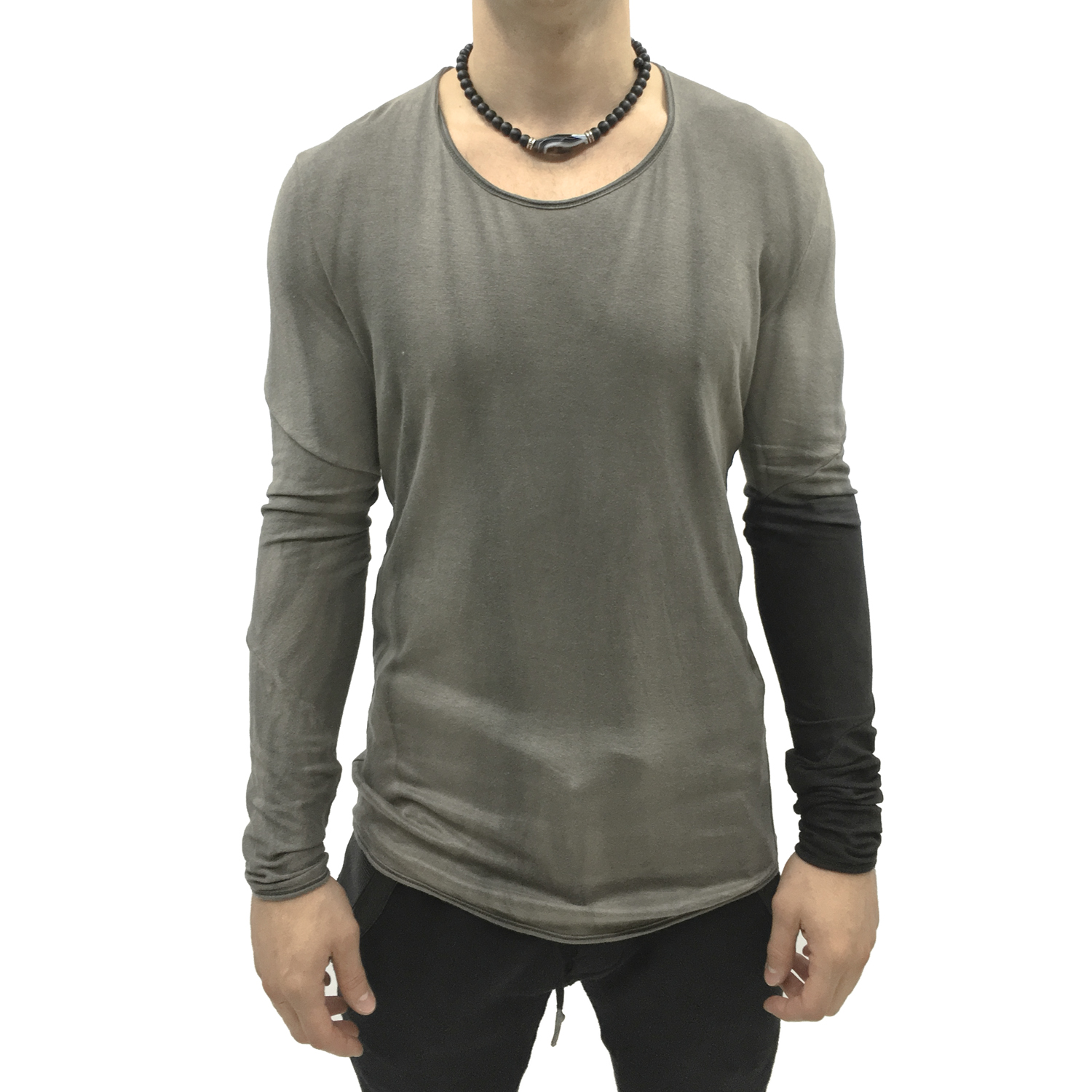 No, No, Yes! Grey Hand Dyed Men's Long-Sleeve Shirt