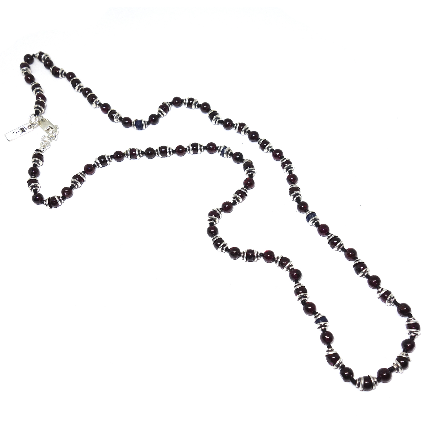 Garnet & Sapphire Men s Beaded Necklace