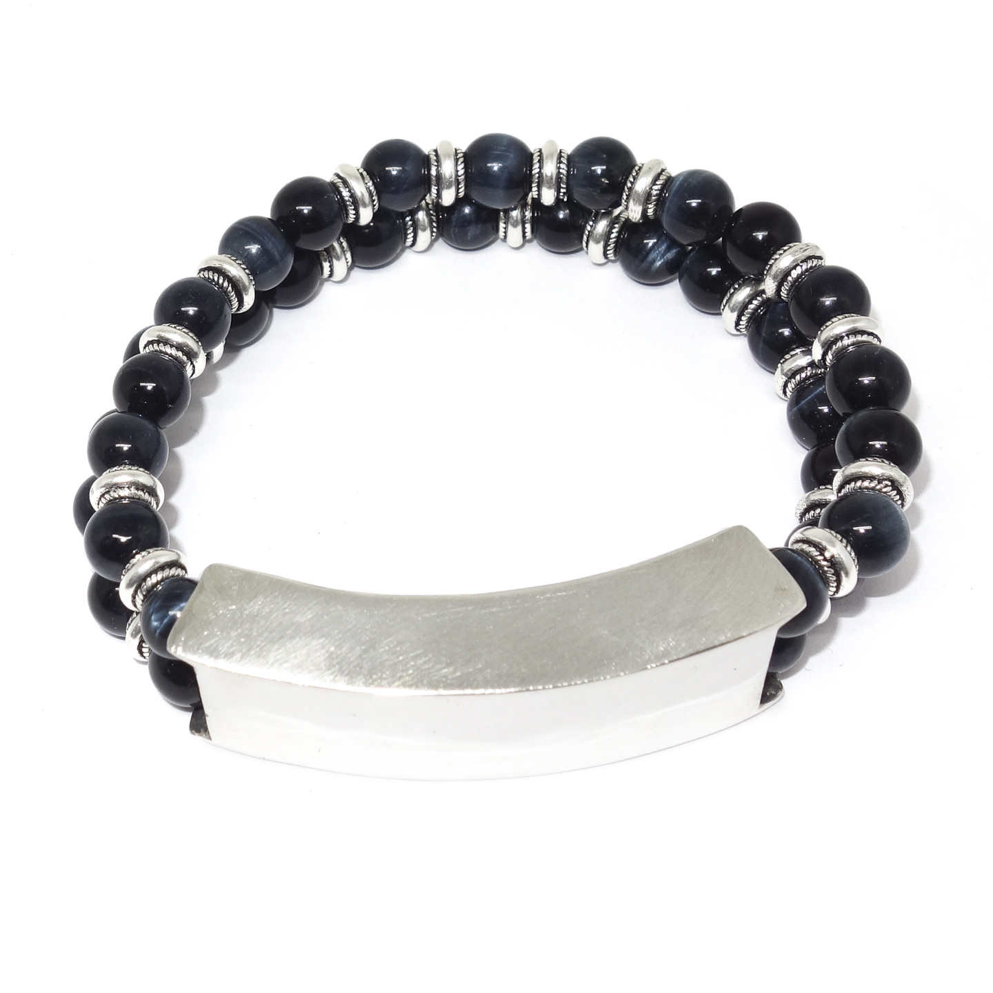 Sterling Silver & Tiger's Eye ID Bracelet
