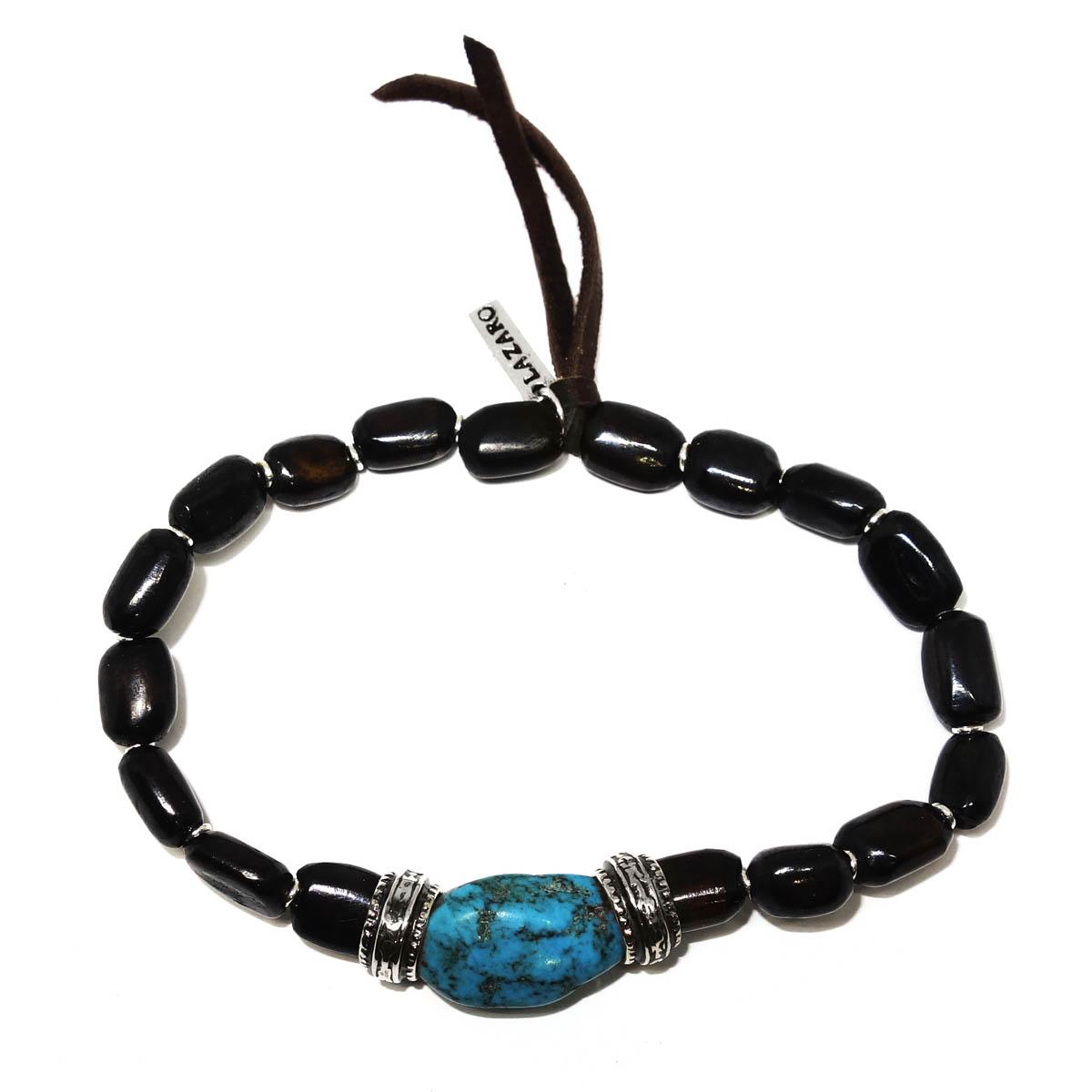 Turquoise Silver Wooden Bead Bracelet