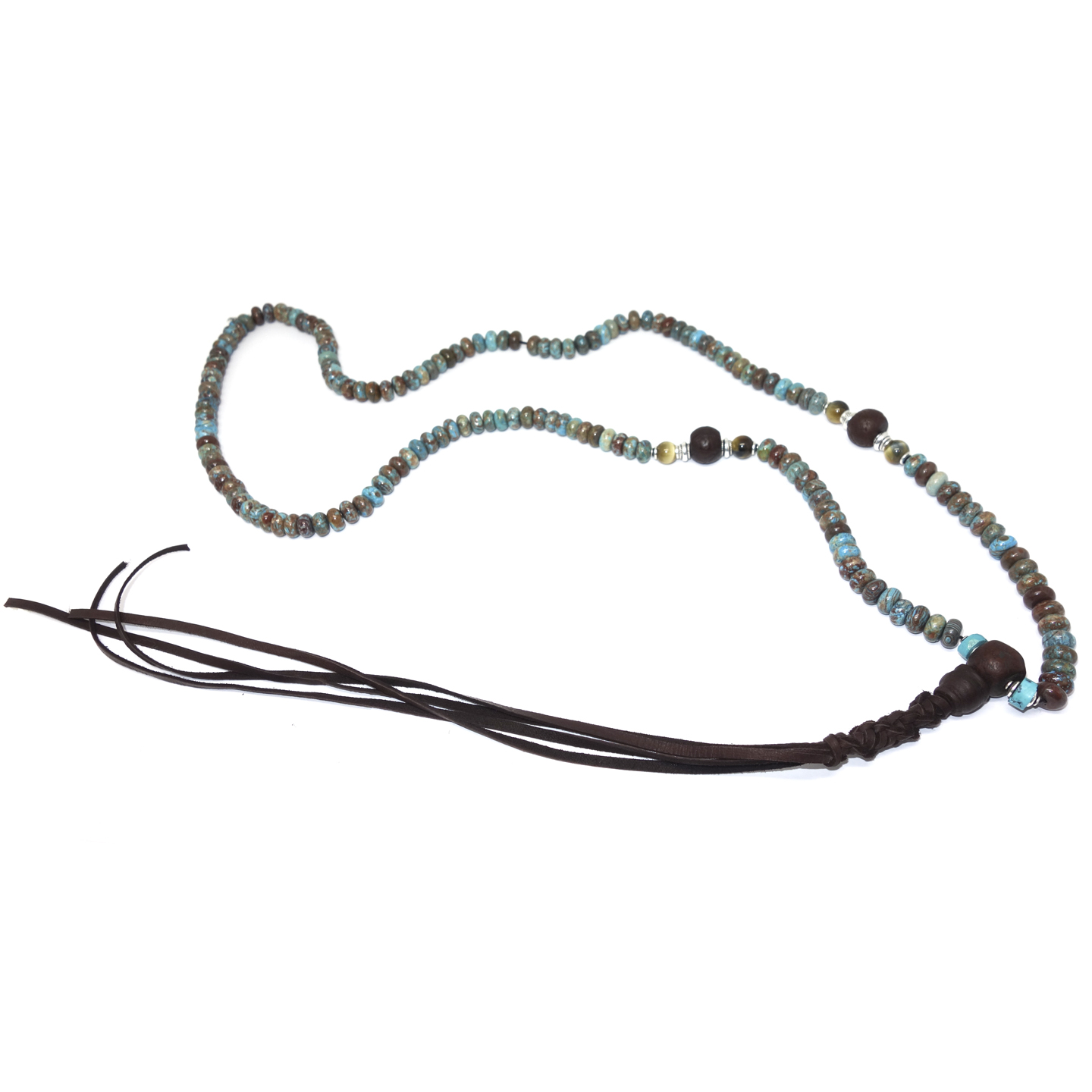 Turquoise & Tiger's Eye Leather Lariat